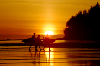 surfers on a beach in tofino