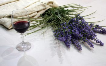 Red wine and lavendar in VIctoria, BC