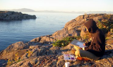 Girl Painting Watercolors on West Coast Shoreline