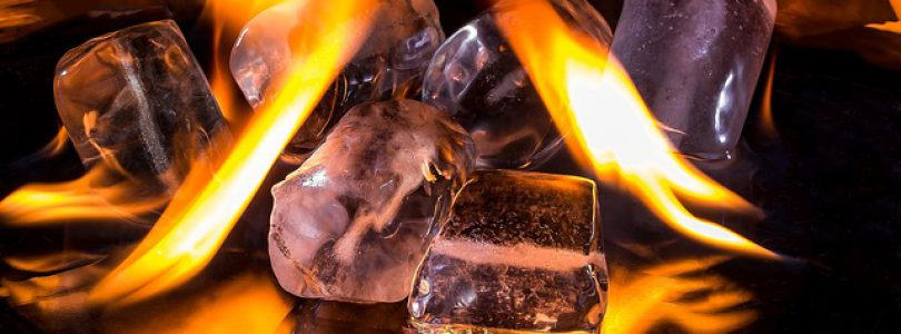 Fire & Ice Festival concept (ice cubes on fire)