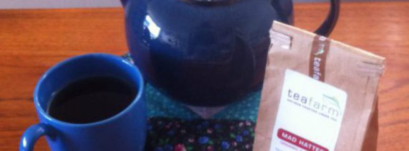 Mad Hatter Tea in cup and teapot from Westholme Tea Farm